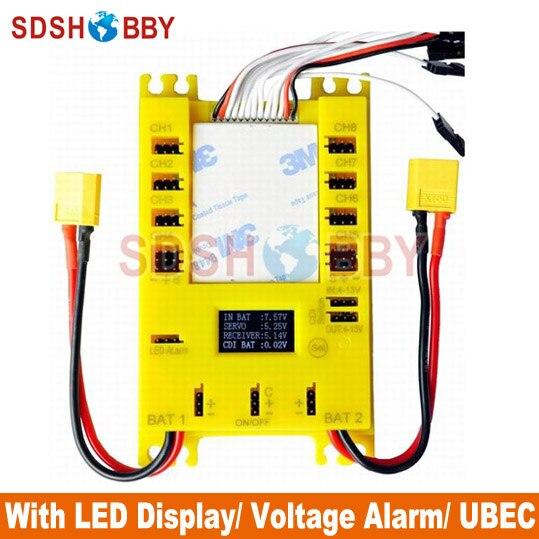 Nieuwe Mini Servo Distribution Board/Sectie Board (4105 #) met Led Scherm/Voltage Alarm/Ubec-Gele Kleur