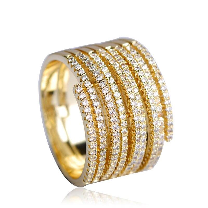 Dazz Shining Full Crystals Zircon Rings For Women Man Gold Silver Color Wedding Bridal Wide Aros Maschile Finger Schmuck