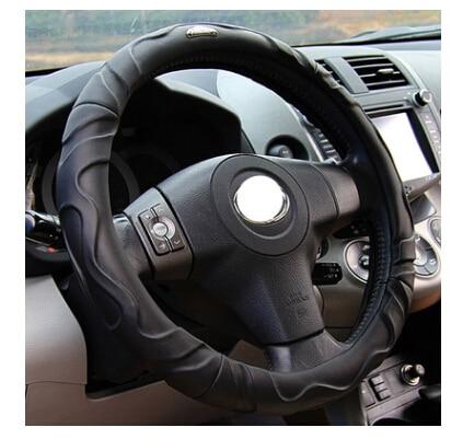 Protector universal para volante de coche de piel con gamuza de imitación de 38cm de piel de oveja para volante de coche