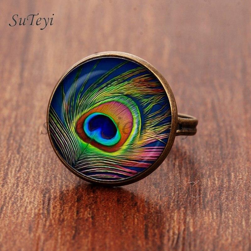 Suteyi 2017 novo pavão pena anel abstrata penas jóias arte nouveau vidro pavão foto anéis ajustáveis para mulher