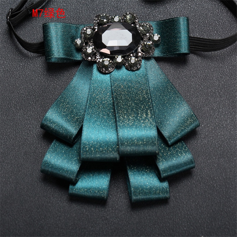 Trajes nuevos hombre collar con lazo broches de corbata pines cinta doble capa borla Bowknot grande piedras boda joyería de moda