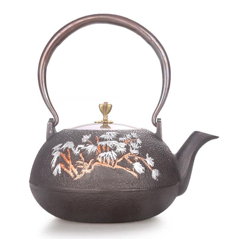 Japonês ferro fundido bule artesanal não-revestido chaleira caldeira de água de bambu duplo desenho de cobre Chinês kungfu tea pot 1.3L