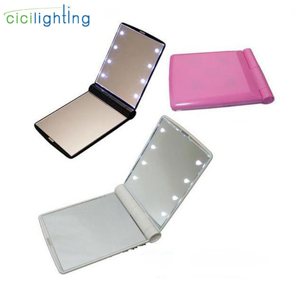 AliExpress - Portable LED Mirror with Light Pink Vanity lights Compact Make Up Pocket Mirrors Vanity Cosmetic Hand Folding led Mirror Lamp