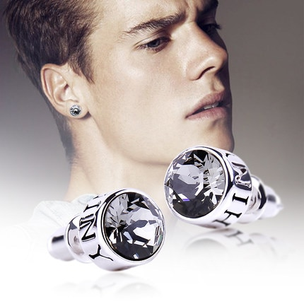 Embellished with Crystal From Swarovski 925 Sterling Silver Men Earrings Fine Jewelry Unisex Round Stud Earring Brincos for Male