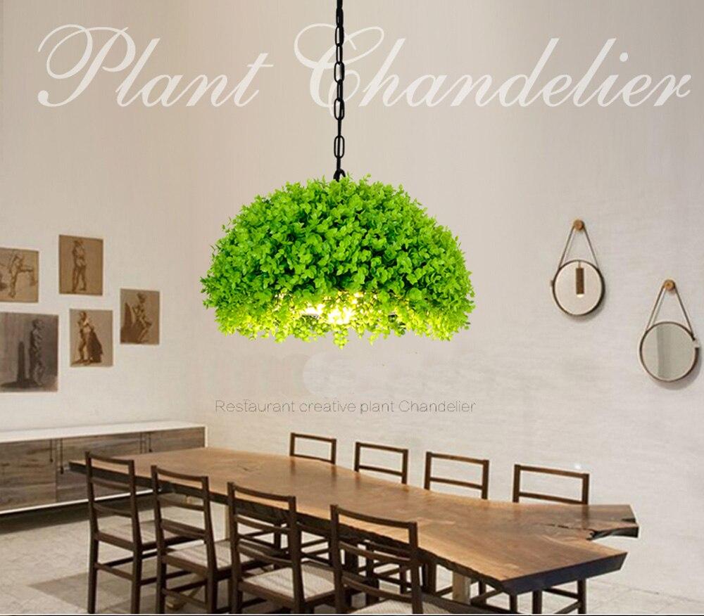 Plantas de simulación colgante luz semicircular plantas verdes lámpara colgante plantas creativas luces colgantes para Cafetería Restaurante