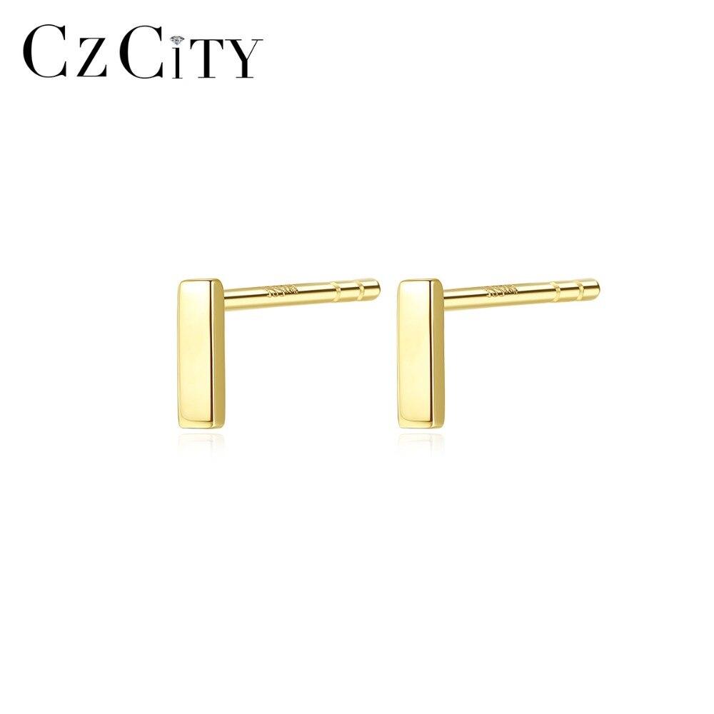 Pendientes CZCITY con pasador de oro de 14K para mujer Au585, uso diario minimalista, pendientes de oro amarillo de 14 K, joyería