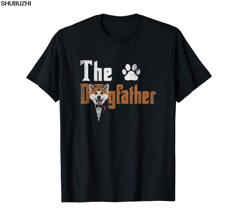 Для мужчин s доготец Акита ину собака папа футболка подарки на день отца shubuzhi Лето O образным вырезом Мужская брендовая одежда хлопок сделать футболки