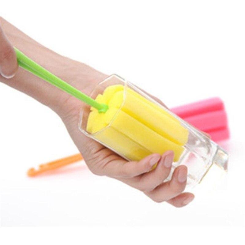 1 ud. Cepillo de limpieza de cocina limpiador de biberones taza de Caño cepillo de esponja de cristal para botella de vino taza de café té de vidrio