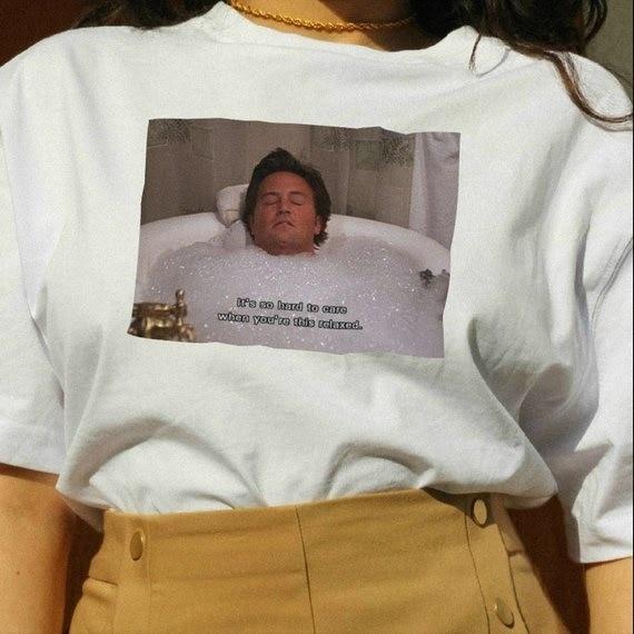 PUDO HJN Unisex Tumblr TV Shows Tee es tan difícil de cuidar cuando estás así de relajado amigos camiseta divertida