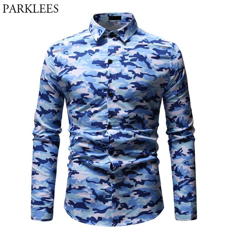 Recente camuflagem impressão camisa masculina 2019 nova moda masculina botão para baixo vestido camisas casual magro ajuste azul blusa homme hombre