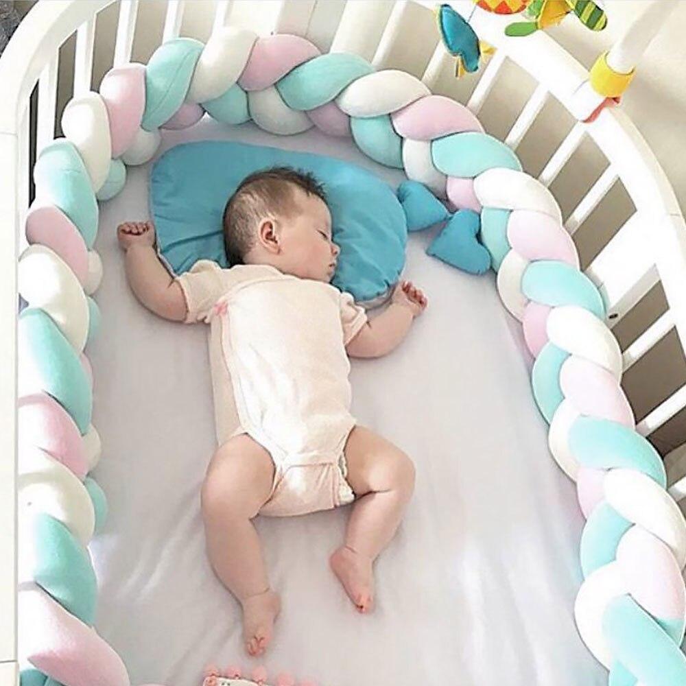 1.5/2.0 m bebê feito à mão nó nórdico recém-nascido cama pára-choques nó trança travesseiro berço lados berço amortecedor decoração do quarto do bebê