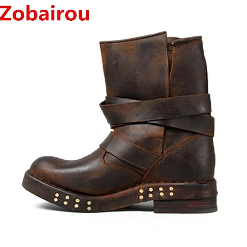 Zobairou buty Chaussure Femme skórzane pończochy z ćwiekami deszcz buty bojowe Punk Style jazda konna buty kowbojskie rozmiar 12