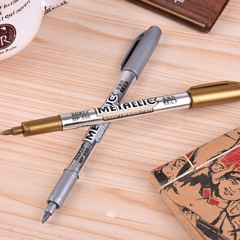 1 PC Paint Pen Metal Color Pen Technology Gold And Silver 1.5mm Up Paint Pen Student Supplies MP550 Marker Pen