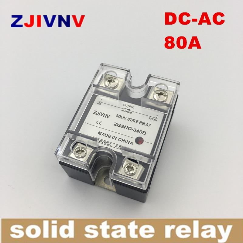 Relé monofásico de estado sólido DC-AC 80A SSR 80DA, Control de CC ac ZG3NC-380B corriente de carga completa de tipo de cruce cero