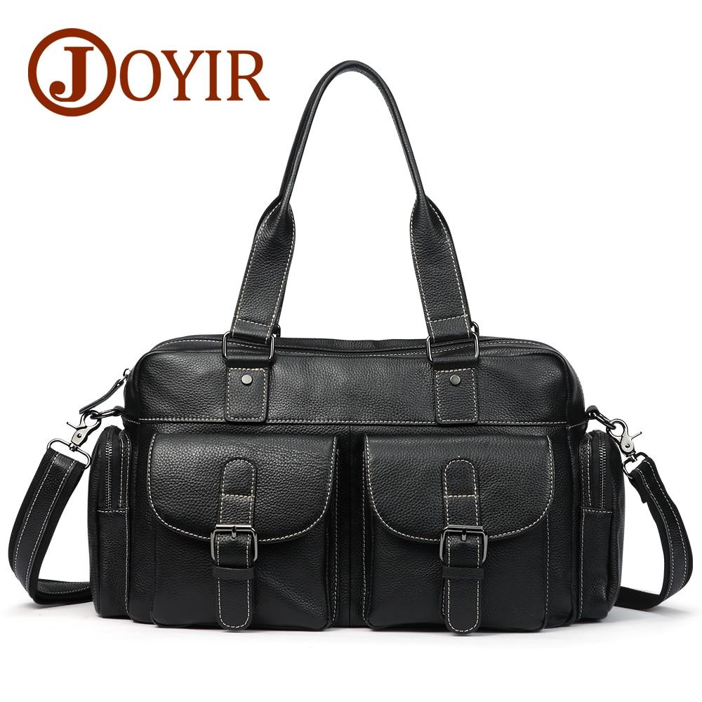 JOYIR Genuine Leather Man Crossbody Shoulder Handbags Fashion 15'' Laptop Messenger Bags Briefcase Men's Travel Bag Handbag
