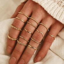 Новинка, хит продаж, креативное Винтажное кольцо с крестиком, набор из 14 колец с золотой волной, ажурное кольцо разных размеров для женщин и девочек