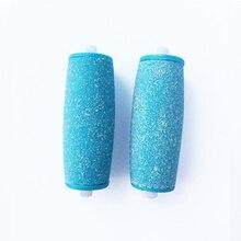 Têtes de rouleau de rechange bleues de 2 pièces pour le fichier de pied électrique lisse de velours de Scholls Express pour le décapant de peau de Pedi avec (aucun paquet)