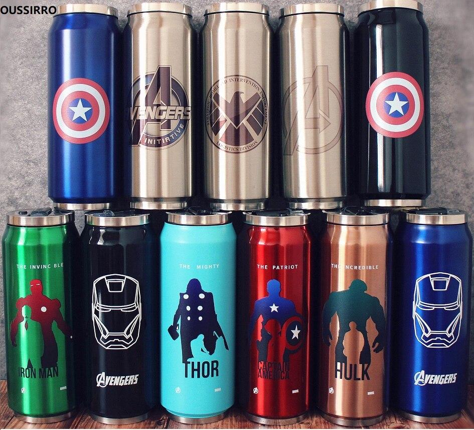 Kreative Edelstahl Super Hero Avenger Justice League Thermos DOSEN Tragbare Unisex Studenten Persönlichkeit Trendy Stroh Tasse