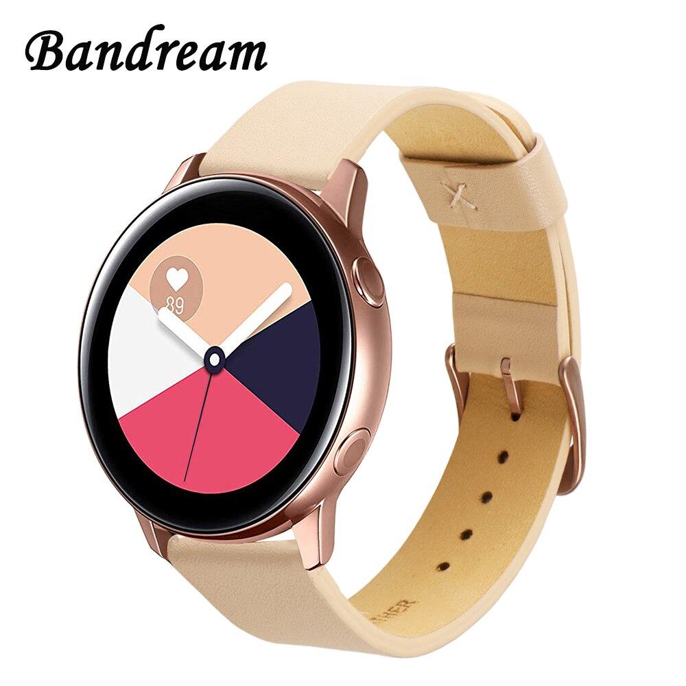 Correa de reloj de piel auténtica italiana para Samsung Galaxy Watch Active R500 Active2 40mm 44mm correa de apertura rápida para mujer rosa dorado