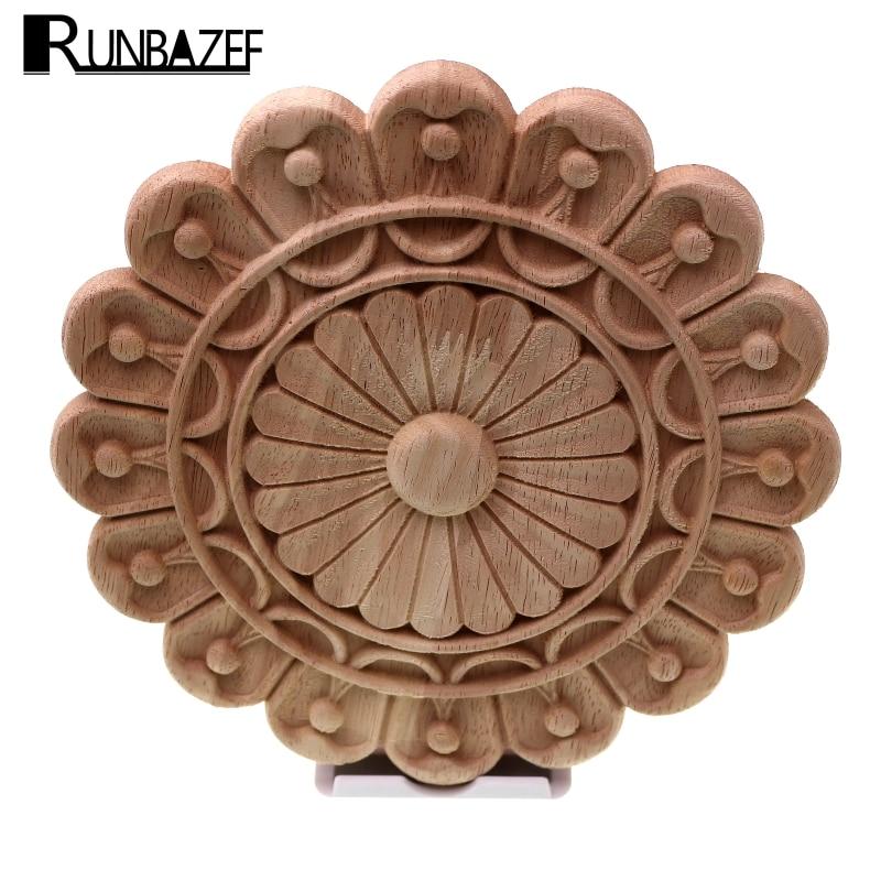 RUNBAZEF Círculo Estilo Retro Arte Da Parede Escultura De Madeira Decorativa Applique Decoração Da Casa Do Vintage Decoração Acessórios Miniaturas