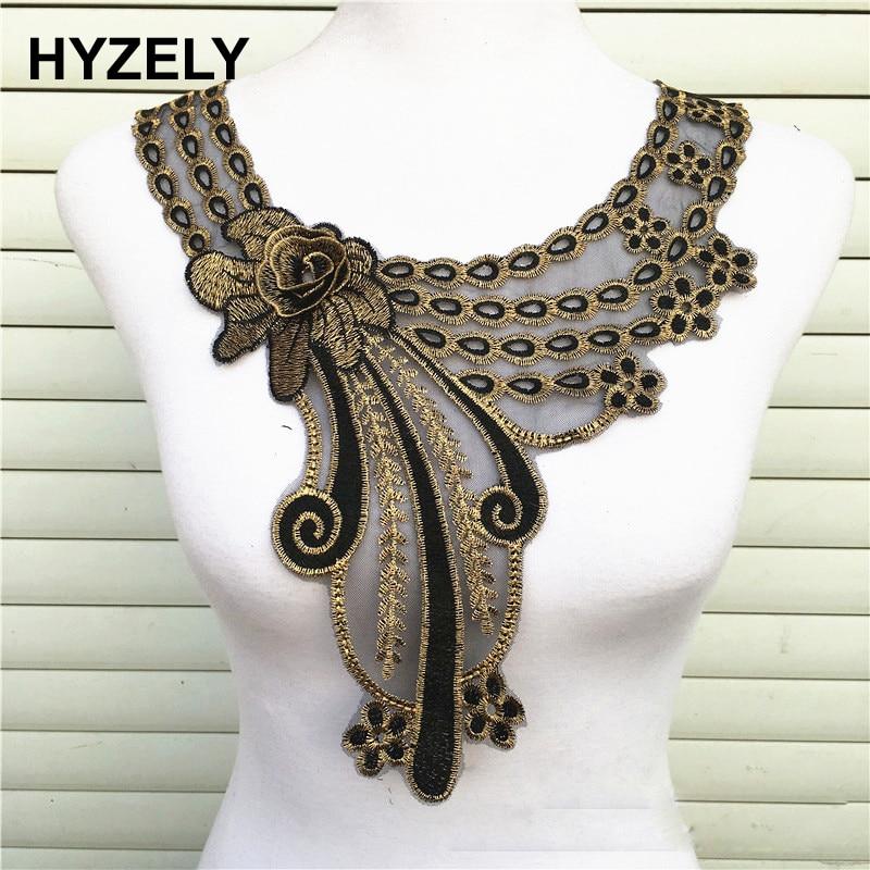 1pc 3D Rose Craft Gold Collar Venise Floral Lace Applique Trim Decorated Lace Neckline Collar Sewing Dress Decor NL275