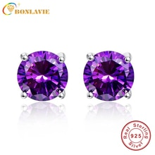BONLAVIE Oval 6.5ct Natural Purple Amethyst Birthstone Stud Earring Pure 925 Sterling Silver Jewelry Party Classic Stud Earrings
