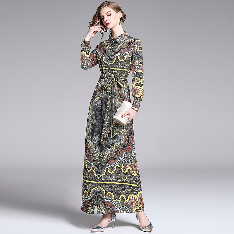 HAMALIEL Elegant Location Holiday Maxi Dress 2019 Summer Women's Long Sleeve Floral Print Long Dress Vintage Fashion Shirt Dress
