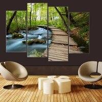 Tableau de decoration sur toile  4 pieces  cascade  foret verte  salle de route  imprimes  maison  salon  decoration  affiche dart mural a la mode