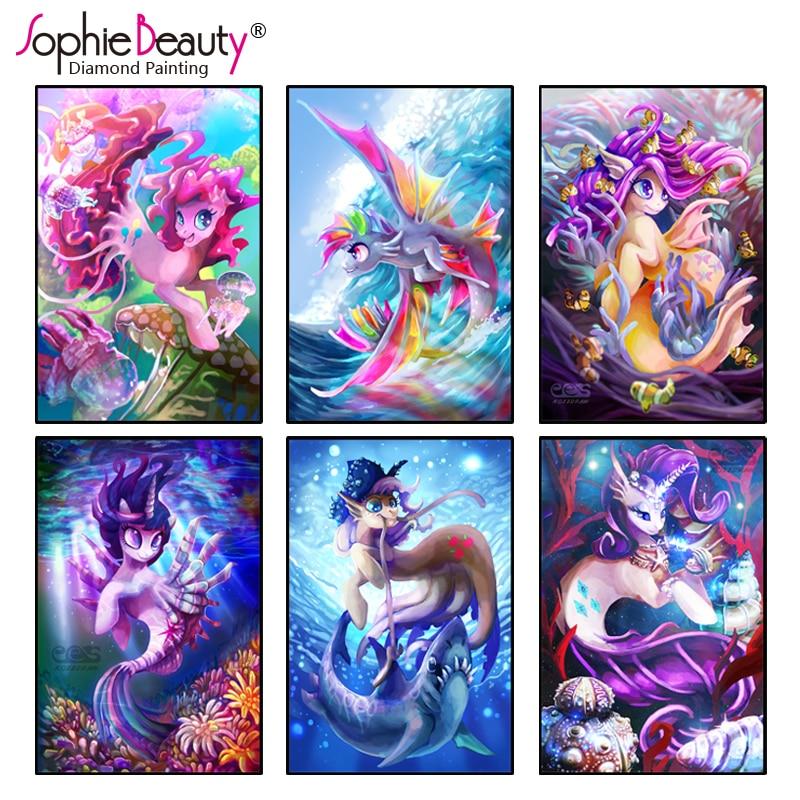 2018 New Diamond painting cross stitch embroidery 5D DIY Cartoon diamond mosaic Princess Pony picture of rhinestones kits gift