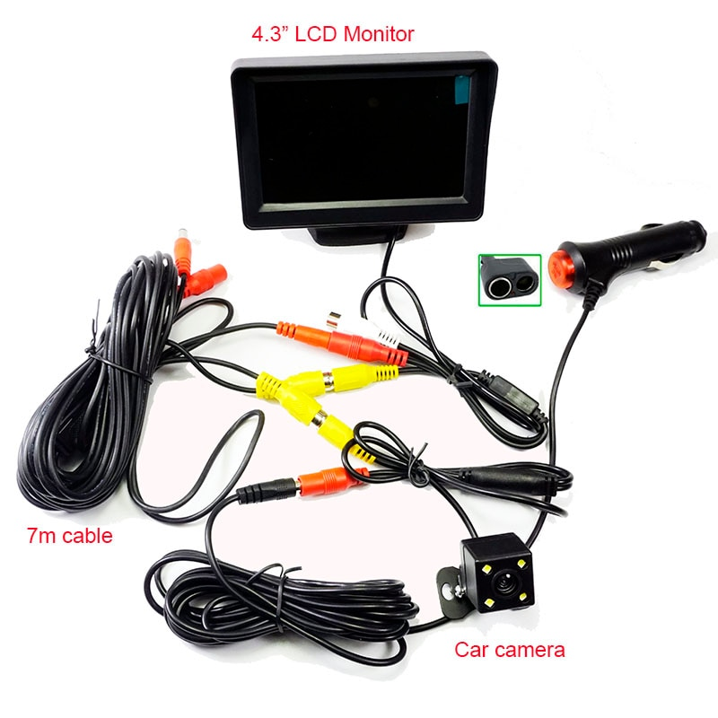 "2n1 Auto sistema de aparcamiento de 4,3 ""LCD Monitor con 4LED vista trasera de coche Cámara alimentador para encendedor de cigarrillos de Video RCA Cable kit"