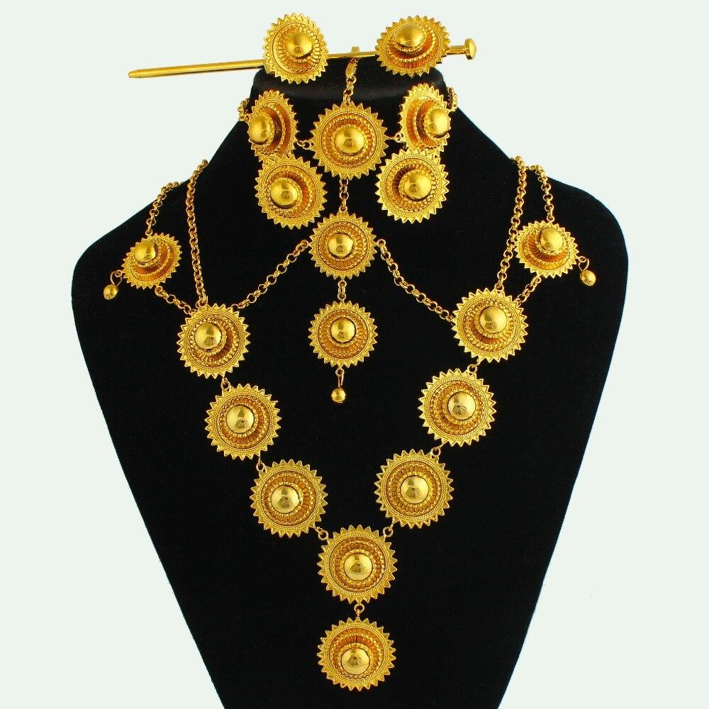 JH Vintage Ethiopian Wedding Jewelry Sets Fashion Necklace Rings Set African Dubai Bridal Luxury Brand Fashion Jewelry Gifts