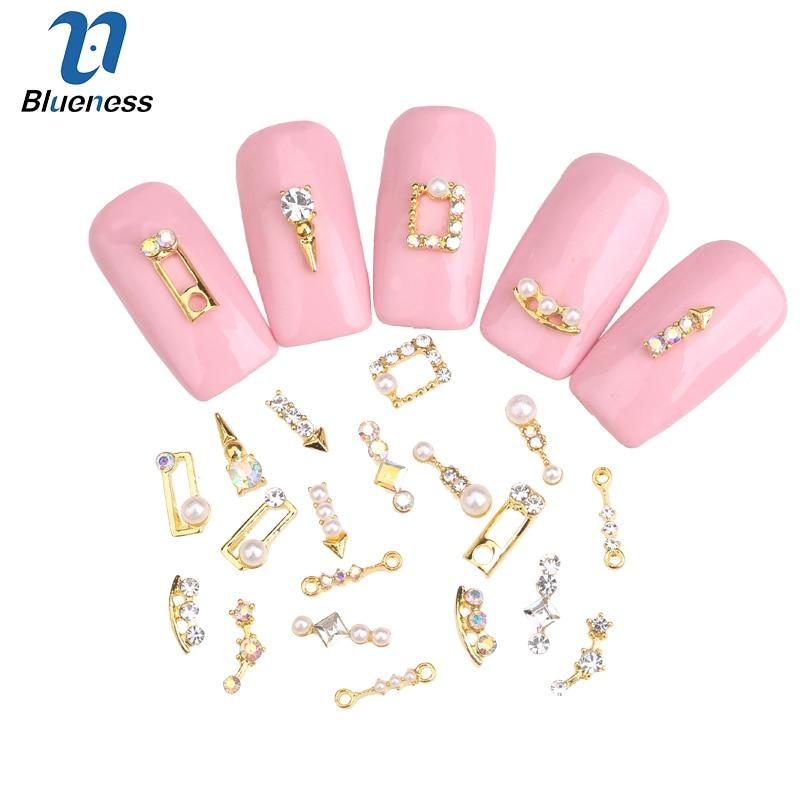 Blueness 10PCS/lot 3D DIY Alloy Metal Rhinestones Nail Art Supplies  Decoration nails Accessories top-level zircon drill