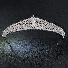 Диадема с классическим кубическим цирконием, свадебная тиара, корона для женщин и девочек, украшения для волос, стразы, диадемы S17803
