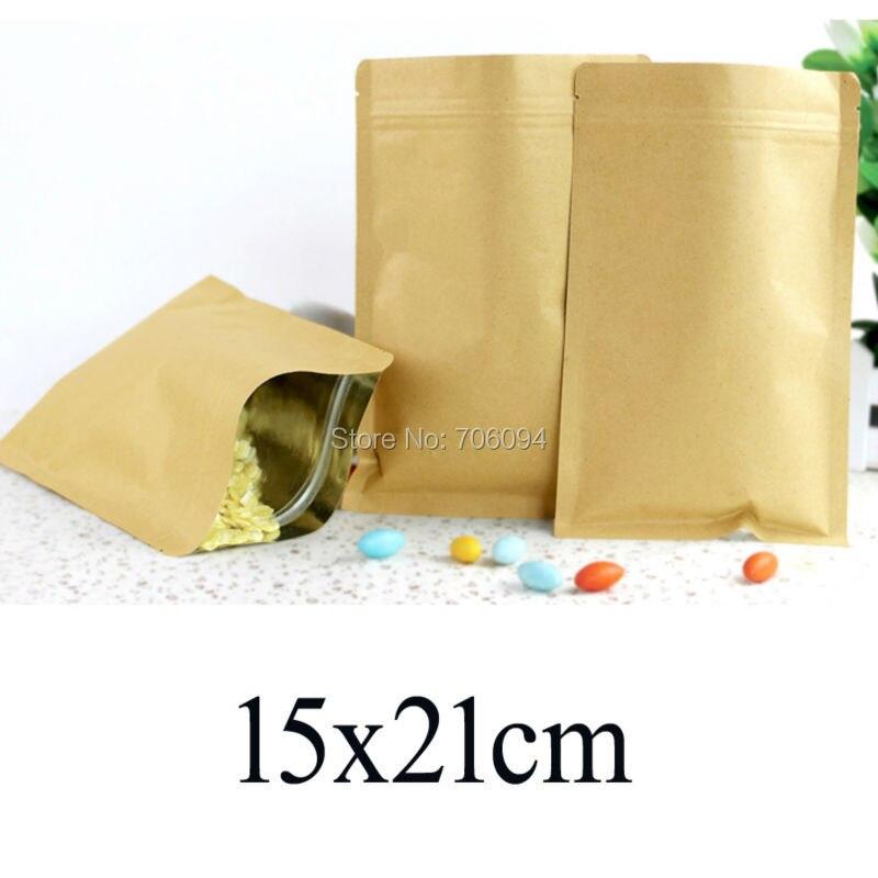 200 piezas 15x21 cm/5,91 x 8,27 papel de aluminio recubierto ziplock bolsa de papel Kraft café bolsas de papel de regalo para fiesta de té en polvo