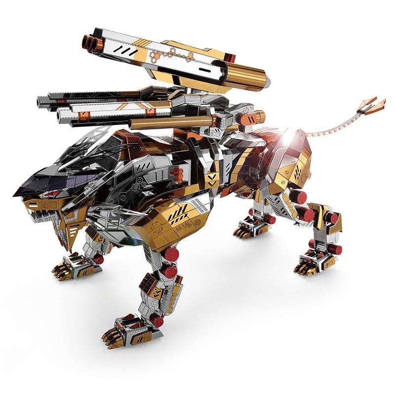 المجهري 3D لغز معدني الميكانيكية زأر الأسد الحيوان عالية مستوى DIY لغز بناء نموذج الكبار هواية رجل جمع هدية