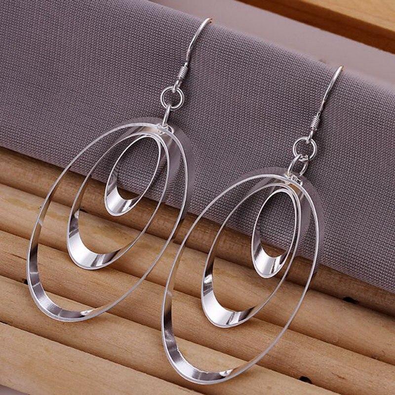Monili di modo dellorecchino per le donne, placcato argento orecchini orecchini piatto rotondo triple e180/zlgrqtld jqysfpcc