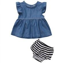 Toddler Baby Girls Kids Denim Dress T-shirt Tops Pants Bottom Clothes Set Children Clothing Summer Costume Outfits Set 2Pcs