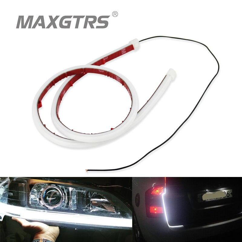 2x 30cm 45cm 60cm DRL Flexible LED Tube Strip Style Daytime Running Lights Tear Car Headlight Turn Signal Day Light Lamps