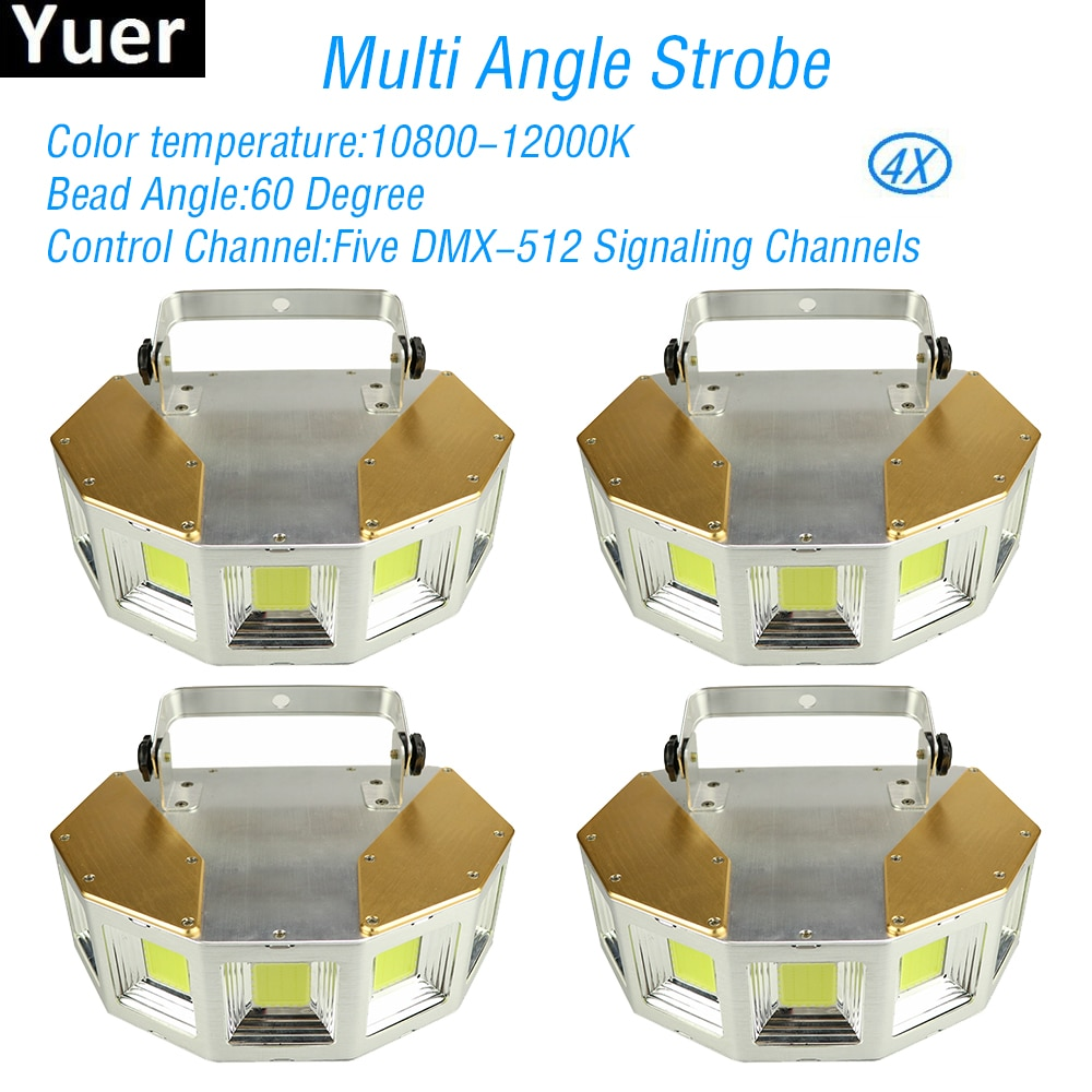 4Pcs/Lot Multi Angle Stage Strobe Light 5 Angles Stroboscope DMX512 Sound Activated Control DJ Disco Party Bar Strobe Lights