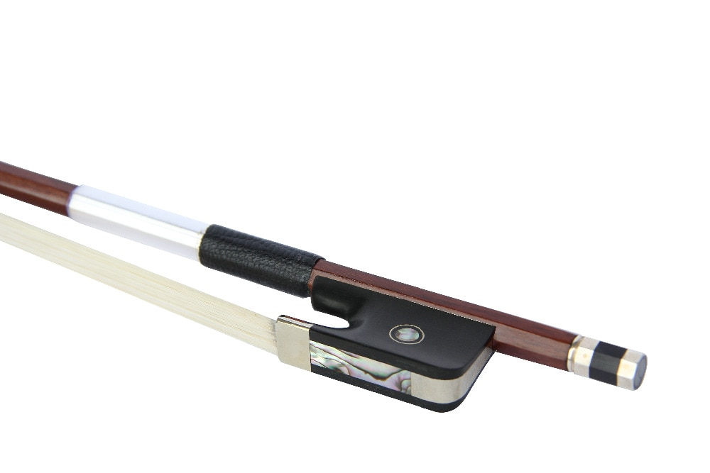 surveal handmade master carbon fiber cello bow natural white horse hair ebony frog carved best elastic with warm sound size 4 4 1/16-4/4 Cello Bow Brazilwood Round Stick Mongilia Horse Hair Ebony Frog Parisan Eye Nickel Silver Fitting Button FP900A