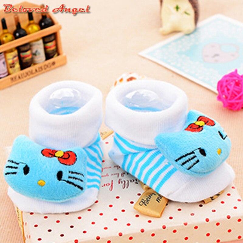 Calcetines de algodón antideslizantes para niños y niñas, calcetines deportivos Unisex para niños de 0 a 18 meses, calcetines de Color caramelo, 2019