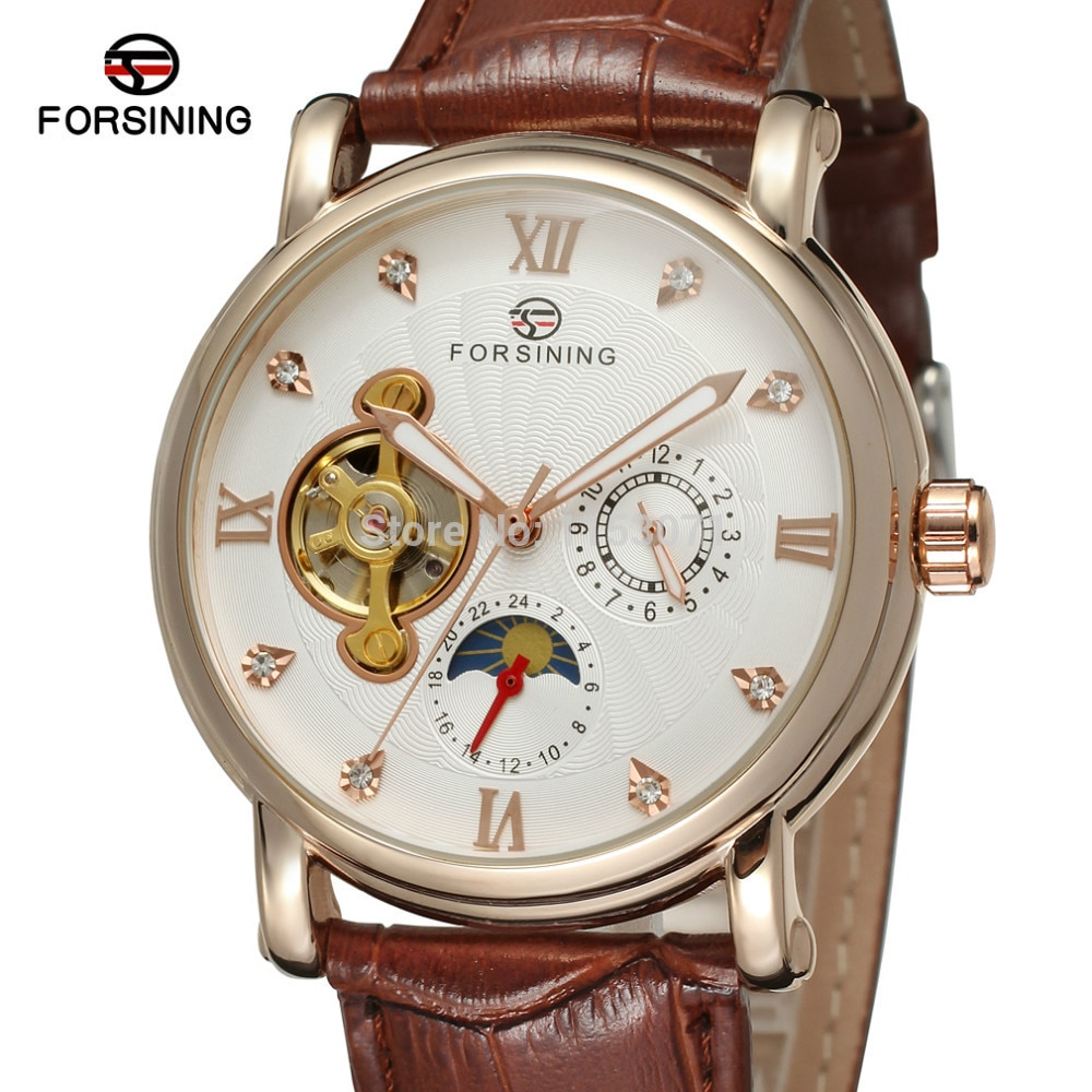 NEW ARRIVE! FORSINING FSG800M3R3 Moon phase fashion design with rose gold color case silver dial stones brown genuine band