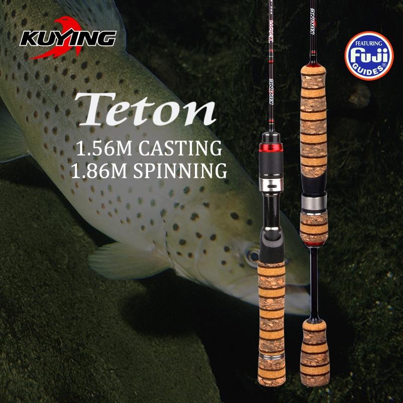 """Kuying teton sul super ultraleve 1.56m 52 2 """"fundição 1.86m 62 2"""" fiação vara de pesca de carbono macio isca vara de cana de peixe 0.8-3g"""