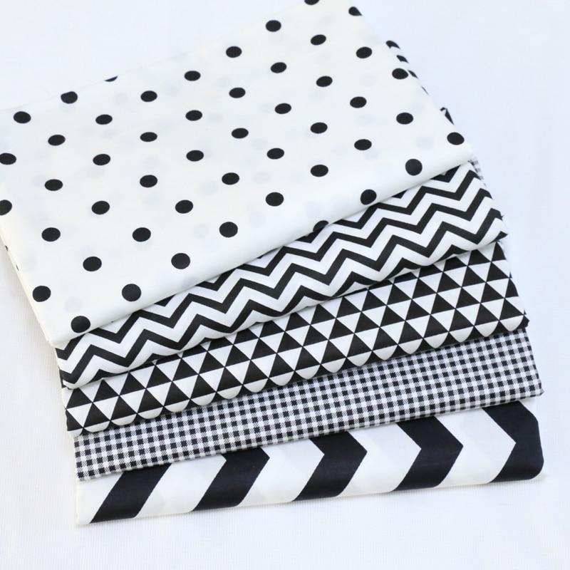 Tela de algodón de retales Diy de estilo de cuadrícula de onda de punto negro blanco con cuartos de grasa para costura artesanal tela textil para el hogar para bolsas de ropa de perro