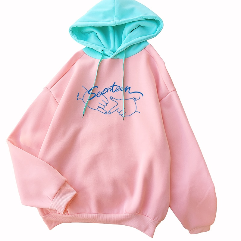 Sudaderas con capucha Harajuku para mujer, sudadera informal holgada de manga larga, pulóver cálido con forro polar y hombros caídos, ropa Koren Kpop Seventeen Tops