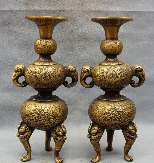 """2658 14 """"Chinesische Bronze Drache Phoenix Elefanten Kopf Statue Candle Stick Halter Paar"""