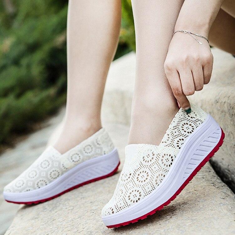 Zapatos de mujer de suela gruesa-zapatos de Muffin casuales y transpirables