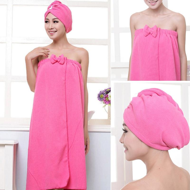1set Towelling Bathrobe Bathroom Soft Polyester Magic Absorbent Towel Beach Towels For Women Quick- Dry Bath Towel
