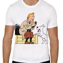 Camiseta de Tintín para hombre, camiseta de verano con dibujo Niño, camiseta de anime, ropa de marca, camisetas de color blanco TMM475