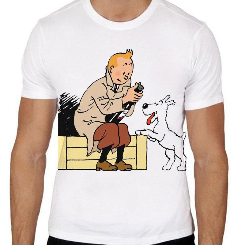 Tintin T-shirt männer sommer t-shirt boy print t-shirt anime t-shirt marke kleidung weiße farbe oberseiten-stück TMM475